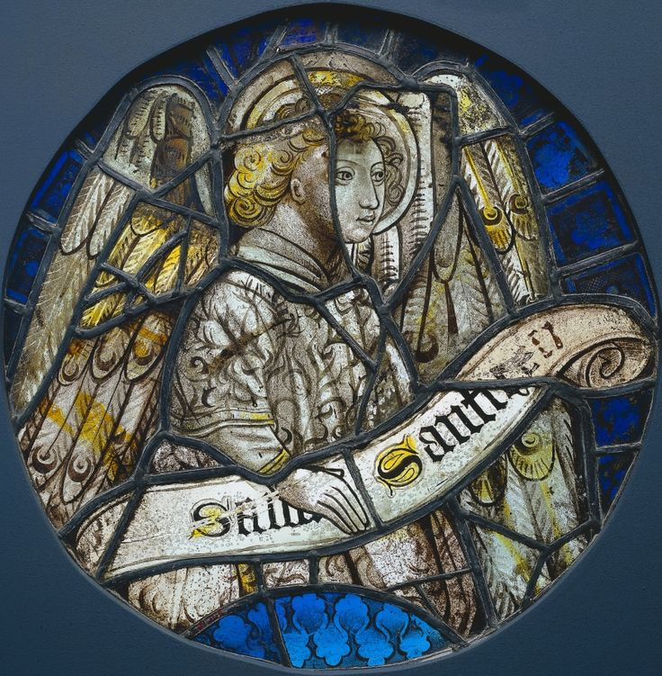 Stained Glass Roundel with an Angel Holding a Scroll, c. 1425-1450 France, 15th century Stained glass (pot-metal and painted grisaille), Diameter - h:36.50 cm (h:14 5/16 inches).