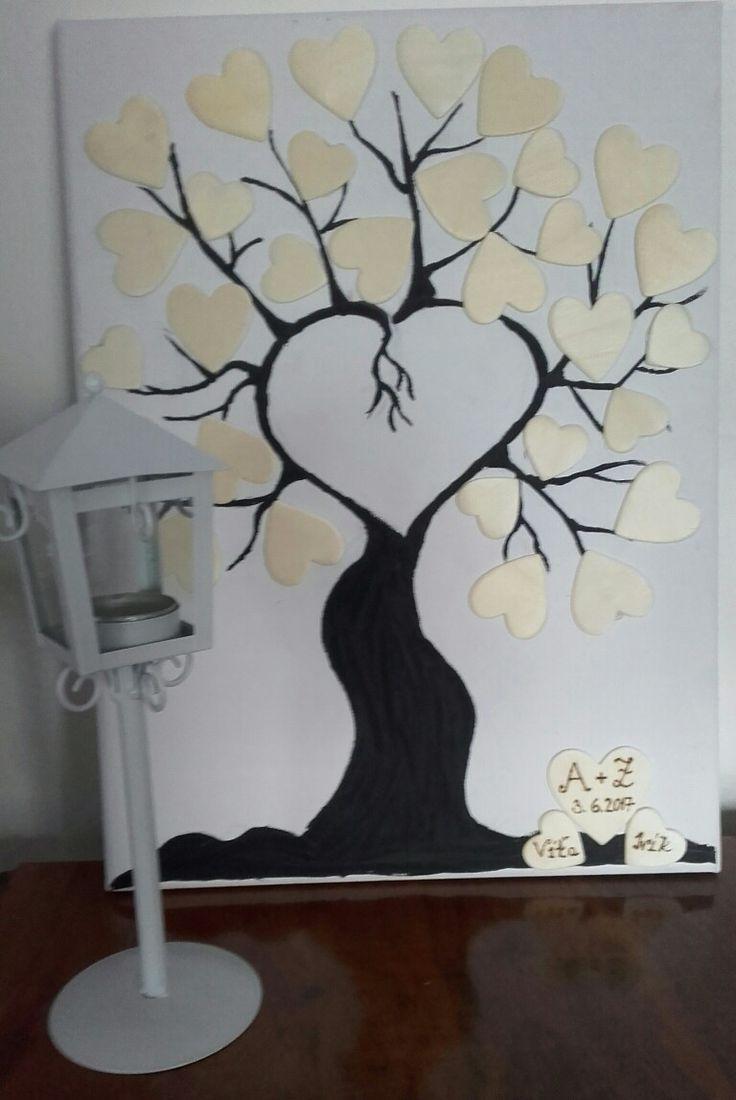 Svatební strom  (plátno,akrylova barva,dřevěná srdíčka)