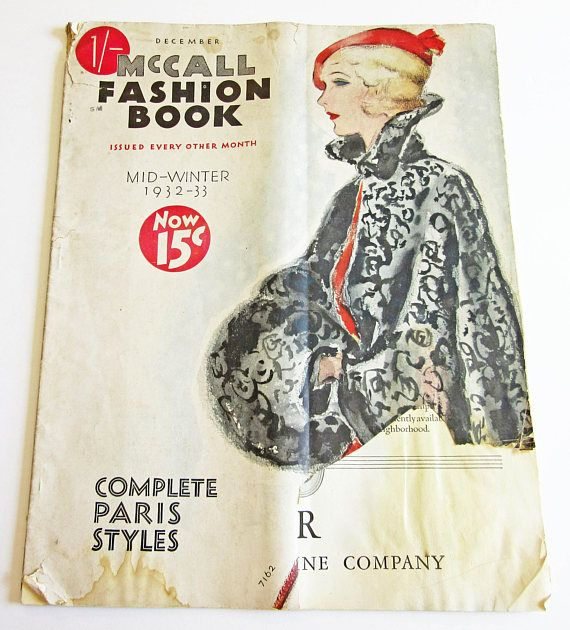 RARE Vintage Ladies' Fashion, Sewing Pattern Catalog McCall Fashion Book Mid-Winter 1932-33