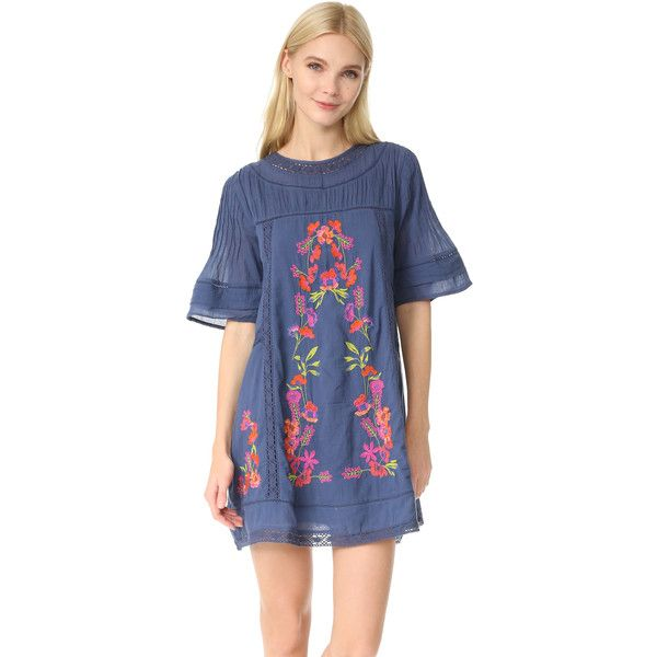Free People Perfectly Victorian Embroidered Mini Dress (229 AUD) ❤ liked on Polyvore featuring dresses, navy, short dresses, navy blue dresses, transparent dress, victorian dress and navy blue dress