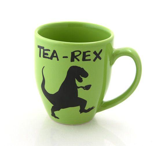 tearex mug t rex dinosaur mug gift for tea lover by LennyMud, $16.00