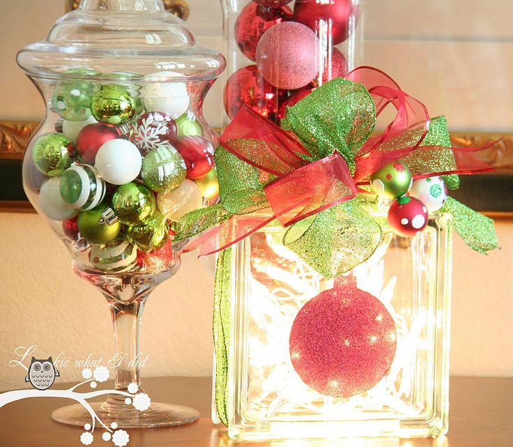 Lookie What I Did: Christmas Glass Block using Krylon Glitter Blast~tutorial