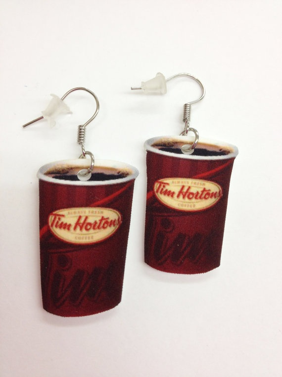 Tim Horton's Coffee Earrings by KarinaMadeThis on Etsy, $5.00