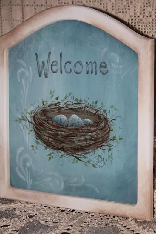 Welcome to my Nest! This is a soft design on a beautiful aqua blue background! Perfect in the garden or by the front door!