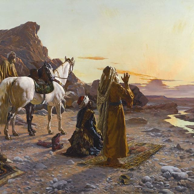 """""""Prayers at Sunrise"""" by #RudolfErnst (1854-1932) Oil on Panel 78.5 x 100 cm Private Collection.  After starting out painting portraits and genre scenes, from 1885 #Ernst turned exclusively to painting Orientalist subjects, which he worked up from the sketches, photographs, souvenirs, and memories accumulated during his travels.  Después de empezar a pintar retratos y pinturas de género, hacia 1885 #Ernst se dedicó exclusivamente a pintar temas orientales, que trabajó a partir de bocetos…"""