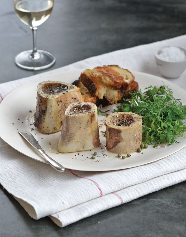 Roasted Marrow Bones with Small Herb Salad, Pairs Well with Au Bon Climat La Bauge Au-dessus Pinot Noir