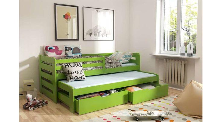 JUSThome KOBI I Jugendbett Doppelbett Massivholzbett mit Bettkasten (LxBxH): 192x95,5x69 cm Grün