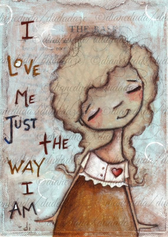 Print of My original folk art painting  I Love Me 5 x by DUDADAZE, $10.00