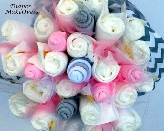 Diaper Flower Bouquet  Pink and Gray Chevron  by DiaperMakeOvers