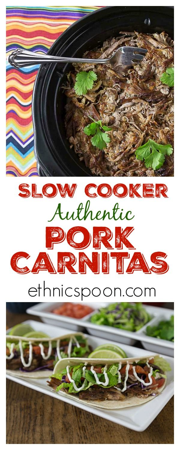 Slow cooker tender and delicious with a nice crispy finish! You will love these authentic Mexican pork carnitas! Super easy to make in the slow cooker and then crisp up in the oven. | ethnicspoon.com
