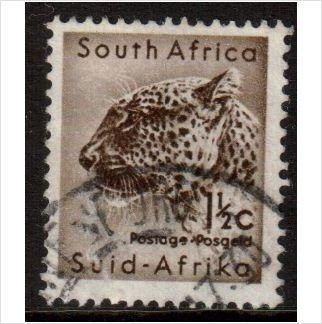 South Africa Scott 243 - SG187, 1961 Leopard 1.1/2c used stamps sur le France de eBid