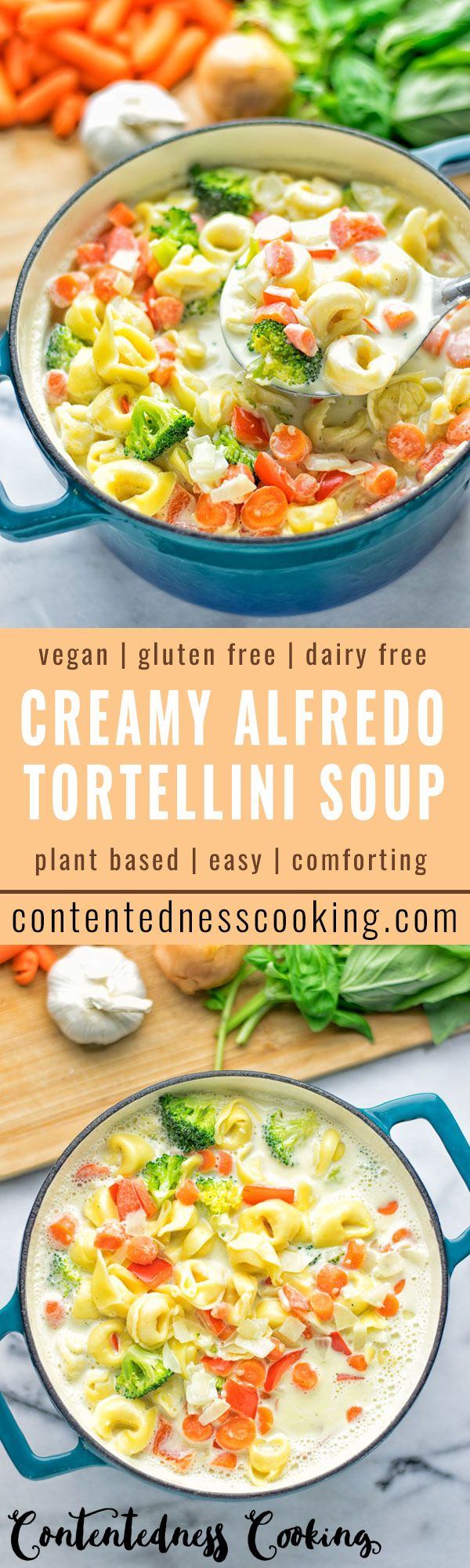 This Creamy Alfredo Tortellini Soup is entirely vegan and gluten free. Super easy to make and insanely delicious. A must make for everyone!