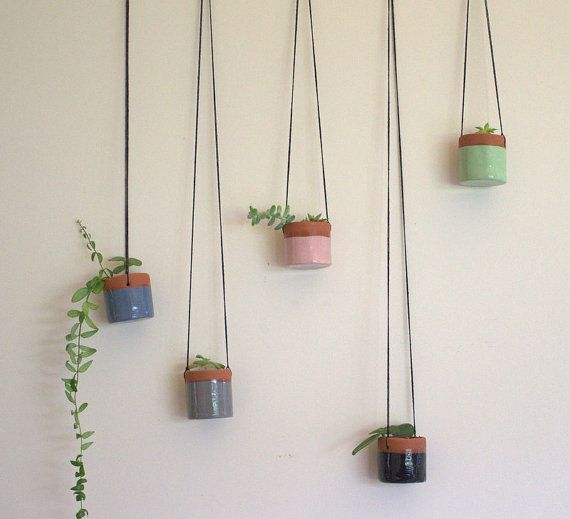 Little Ceramic Hanging Succulent Pot by LittleBright on Etsy
