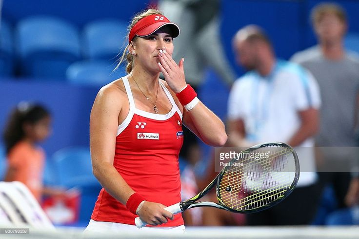 Belinda Bencic of Switzerland blows a kiss to the crowd after winning the women's singles match against Heather Watson of Great Britain on day two of the 2017 Hopman Cup at Perth Arena on January 2, 2017 in Perth, Australia.