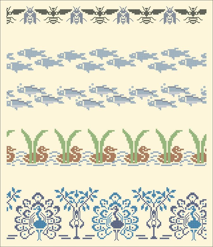 Wasps and flies, fish, ducks, peacocks   Chart for cross stitch borders.