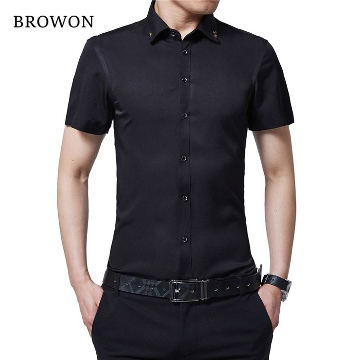 >> Click to Buy << BROWON Brand New Summer Men Tuxedo Shirt Solid Color Turn Down Collar Short Sleeve Shirt Thin Style Party Shirt for Men Clothes #Affiliate