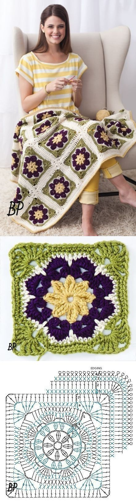 Beautiful crochet blanket with patterns