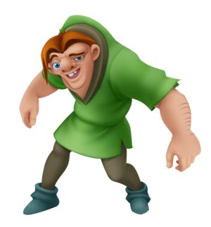 Quasimodo is the main protagonist of Disney's 1996 animated film The Hunchback of Notre Dame and its sequel. Quasimodo was born deformed, primarily known for his hunched back, of which the film takes its name from. In spite of his ghastly appearance, Quasimodo is naïve and kind-hearted, and knows little of the world outside his bell tower home; of which he was forbidden to leave from.