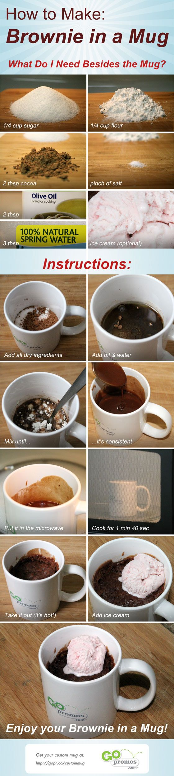 Brownie in a Mug! Whoa! Can't wait to try this one! No butter or egg either. Unbelievable!