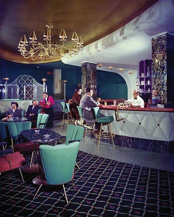 Midcentury modern bar, 50s Florida