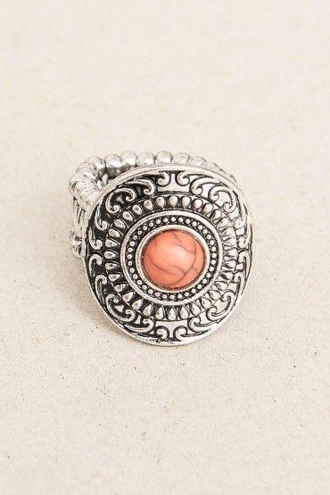 Anillo piedra rosada