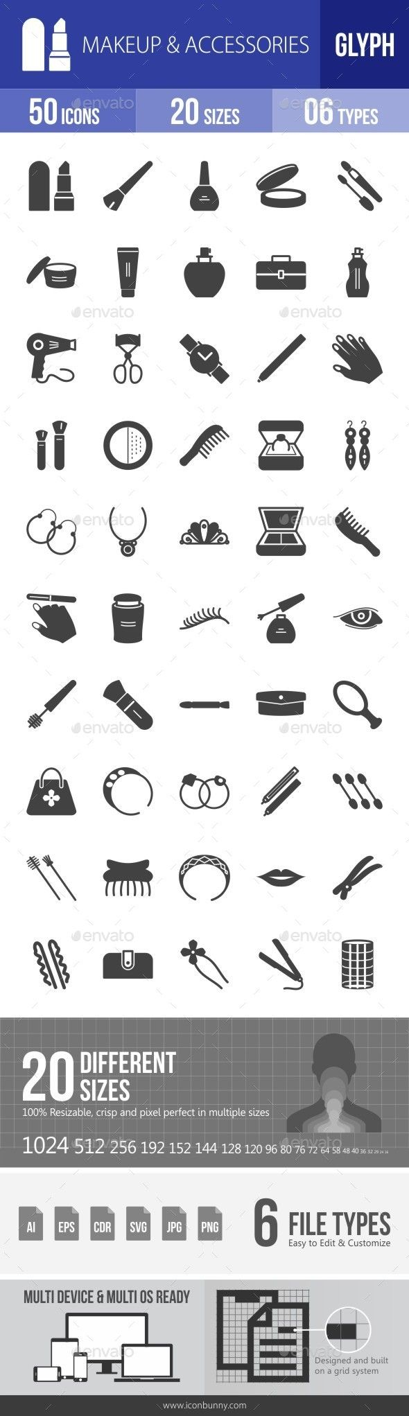 Makeup & Accessories Glyph Icons