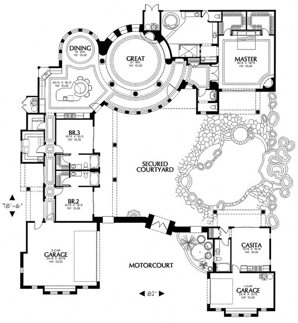 Not this large, of course, but a house floor plan that has central courtyard for entertaining.