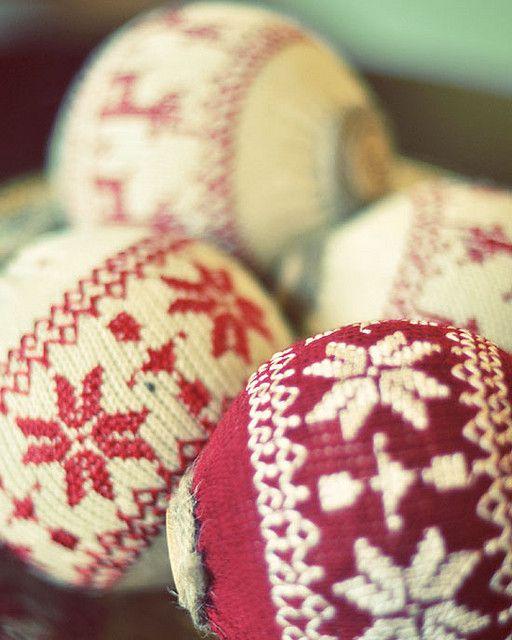 Knit snowflake ornaments.