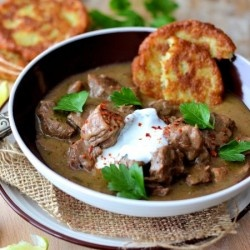 Cinghiale (wild boar) makes a very aromatic and delicious stew. Yum!