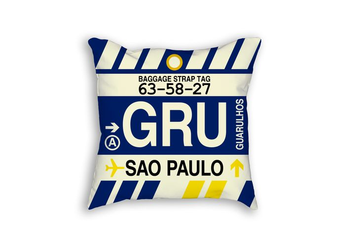GRU Sao Paulo Airport Code Baggage Tag Pillow