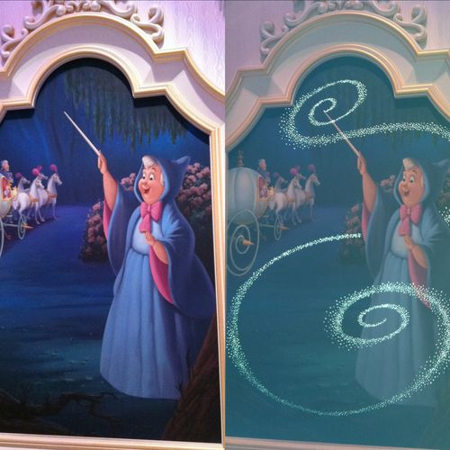 Picture taken first without flash (left) then with flash (right) in Cinderella's castle at Tokyo Disneyland. AMAZING