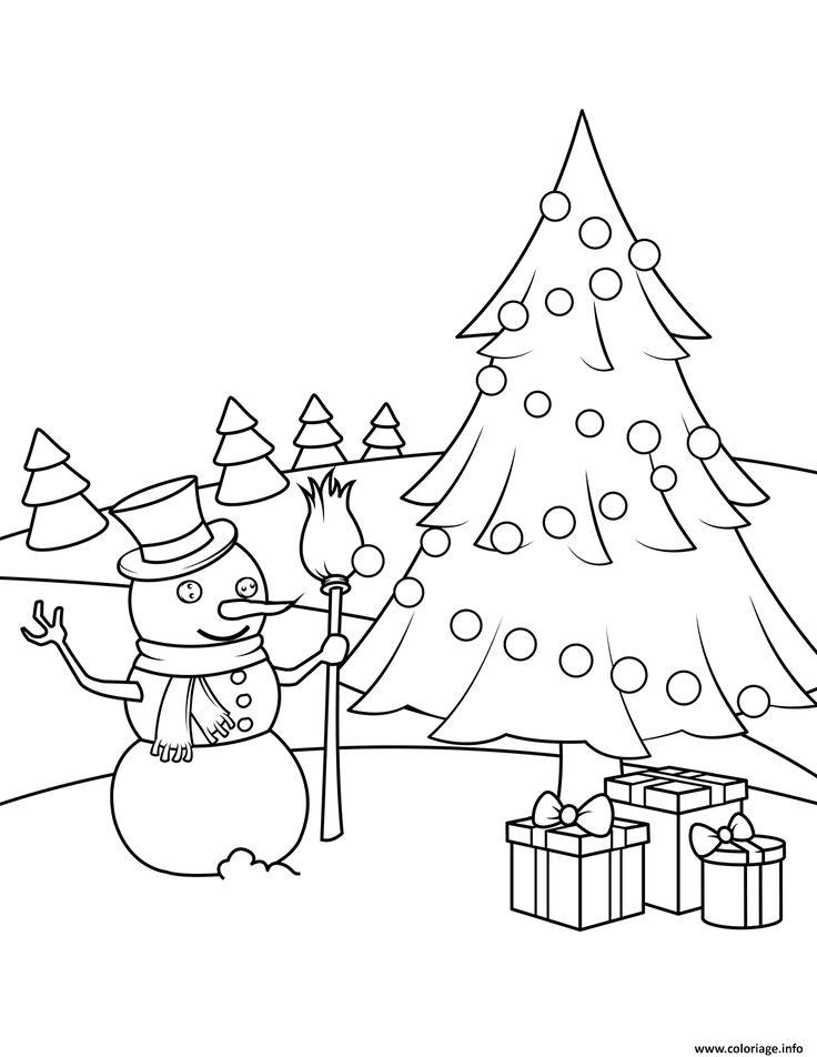 Coloriage bonhomme de neige avec un sapin et des cadeaux de noel dessin nouveau coloriage - Sapin avec cadeaux ...