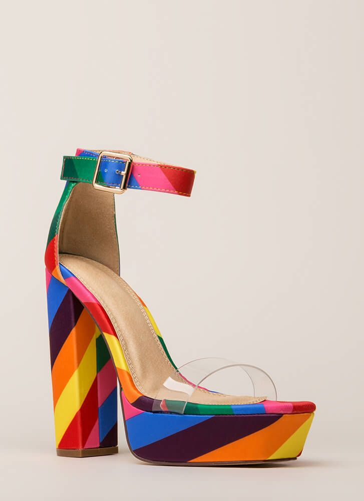0a1e13150a7 My Rainbow Chunky Clear Strap Platforms in 2019 | Heels | Rainbow ...
