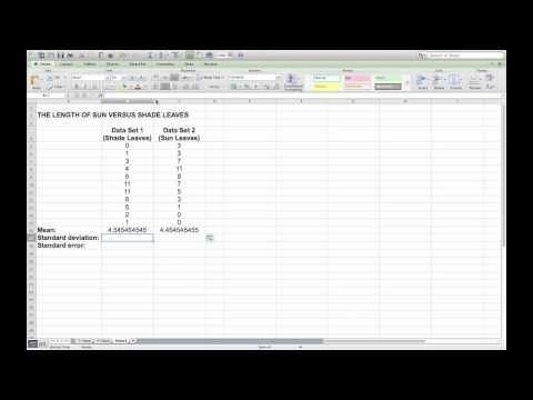 Calculating mean, standard deviation and standard error in Microsoft Excel - YouTube