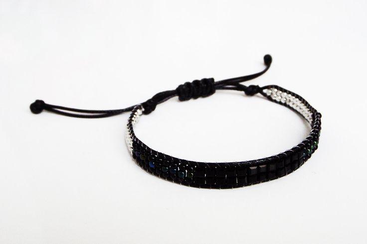 Bracelet cordon NOIR multi perles noires et argentées Nœud plat coulissant Bracelet Femme Ado Bijou mode fêtes Soirées saison 2016 2017 Noël de la boutique BBSdeParis sur Etsy