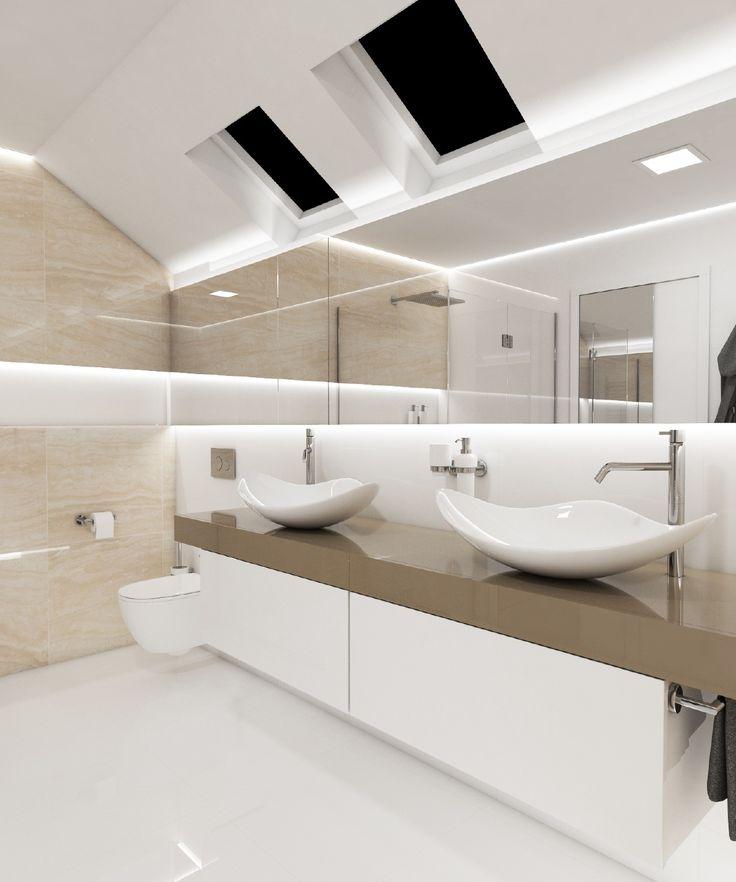 Luxusní koupelna GLOSSY | Luxury bathroom GLOSSY #bathroom #bathroomdesign #interiordesign #bathroomdecor #luxurybathroom #bathtub #vana #glossy #travertin #tiles #koupelna #ceramic #brown #white #perfectodesign