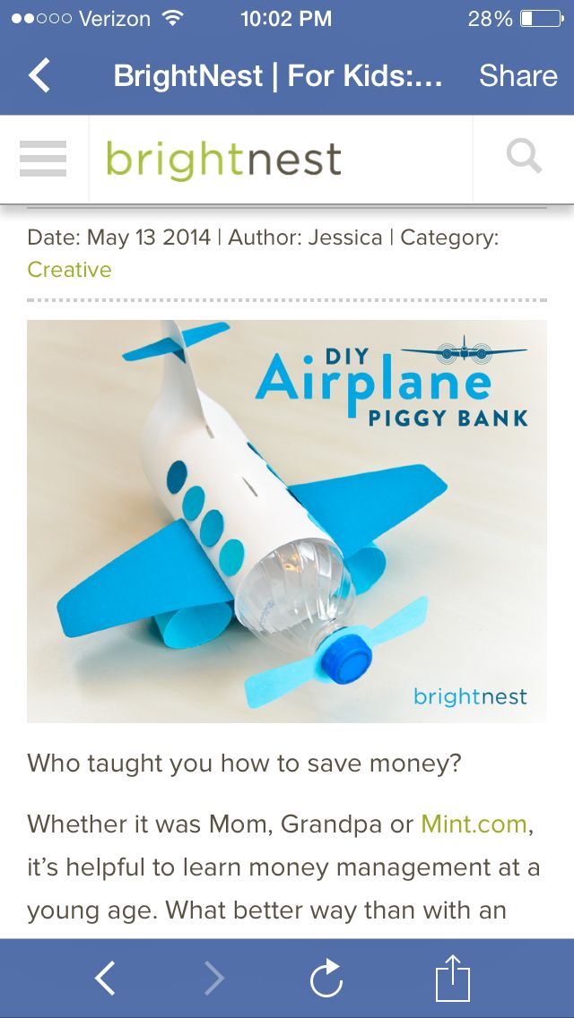 Water bottle airplane coin bank