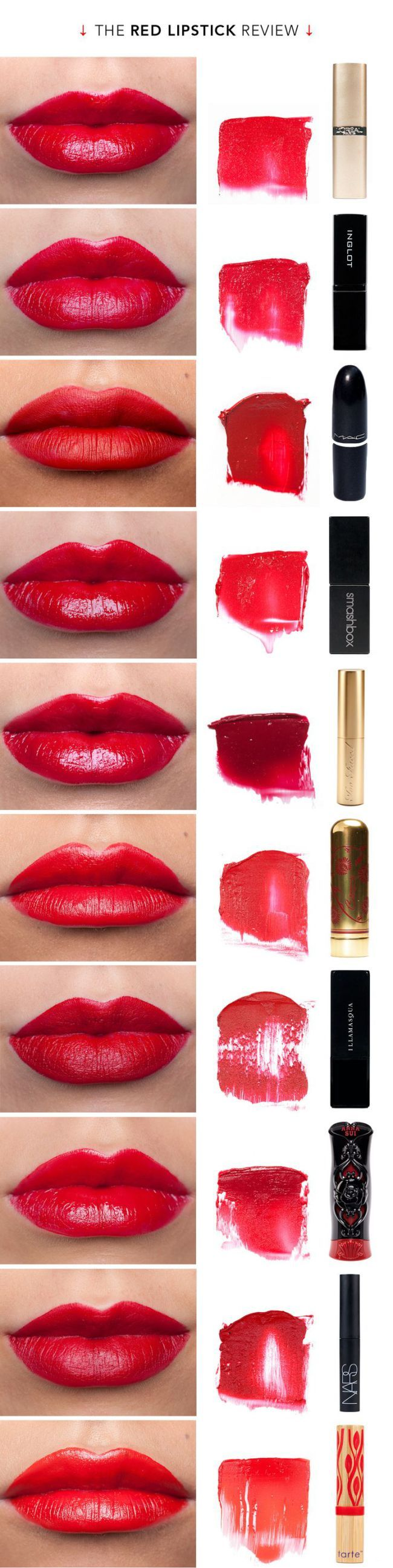 These beautiful reds range in price – between $6-$26! The ones I want to try the most are the MAC – Russian Red, the Besume and the Tarte! Want a $2 dupe of Russian Red – CLICK HE…