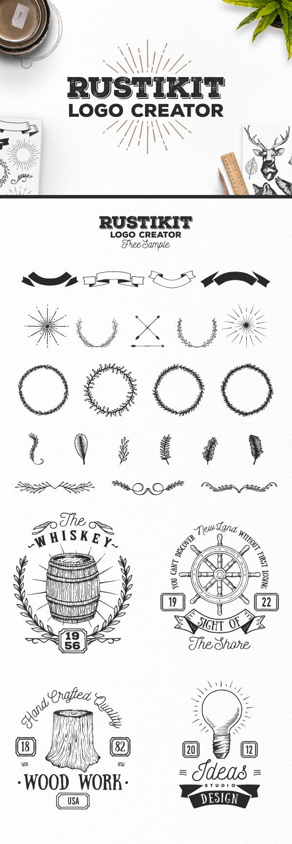 Today's special is a Rustikit Logo Creation Kit which includes 4 pre-made logos and 20 fully editable and scaleable elements to work with. This Kit is inspired by nature and surely it will help you create great logos for your projects.