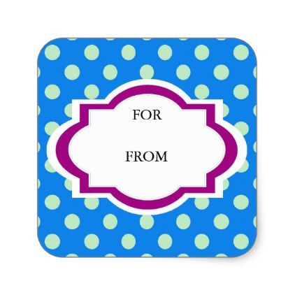 Purple teal polka dots for from write names gift square sticker - modern gifts cyo gift ideas personalize