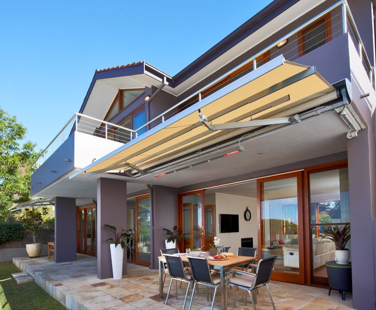 Specially designed for the extreme weather conditions experienced throughout Australia,  the Sunrain's unique double-pitch design allows rain water to run off the waterproof PVC fabric and drain out both sides of the custom drainage front rail. #luxaflexaus #luxaflexsunrain #sunrainawning #luxaflexnewyearsale #awning