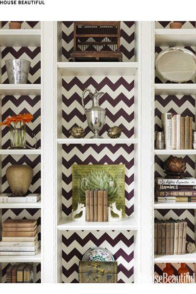 wallpaper behind shelves