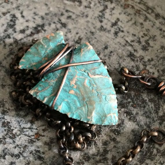 Turquoise Arrowhead Necklace - Knapped Arrow Head Wire Wrapped in Rustic Copper - Men's Boho Sagittarius Necklace Pendant