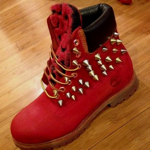 Red Timberlands With Spikes February 2017