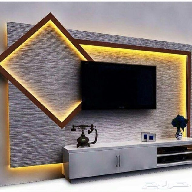18 best TV wall elements with LED lighting that you