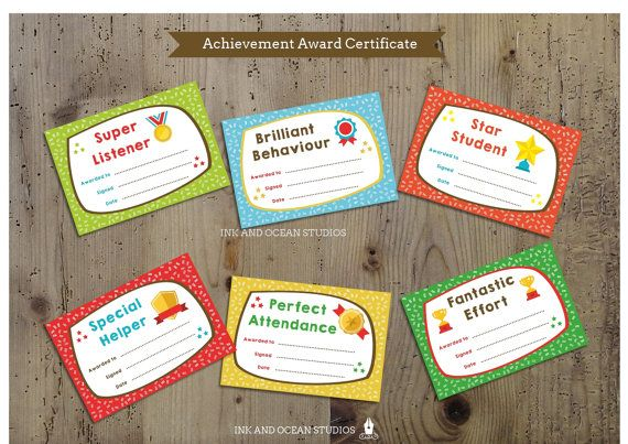 Printable teacher certificate, achievment awards for class, school or home school.
