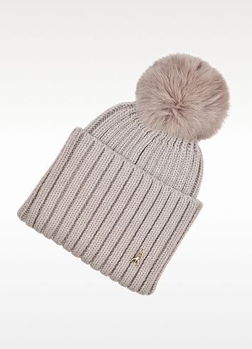 PATRIZIA PEPE Wool Hat with Rabbit Fur Insert