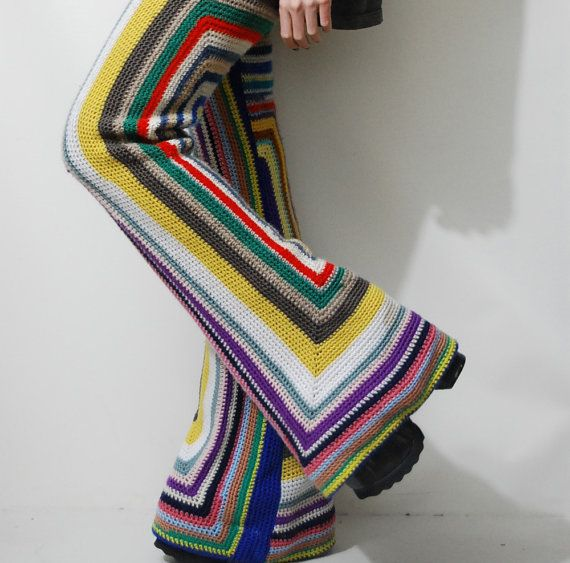 CROCHET Granny Square Pants FLARES Bells Rainbow by cruxandcrow