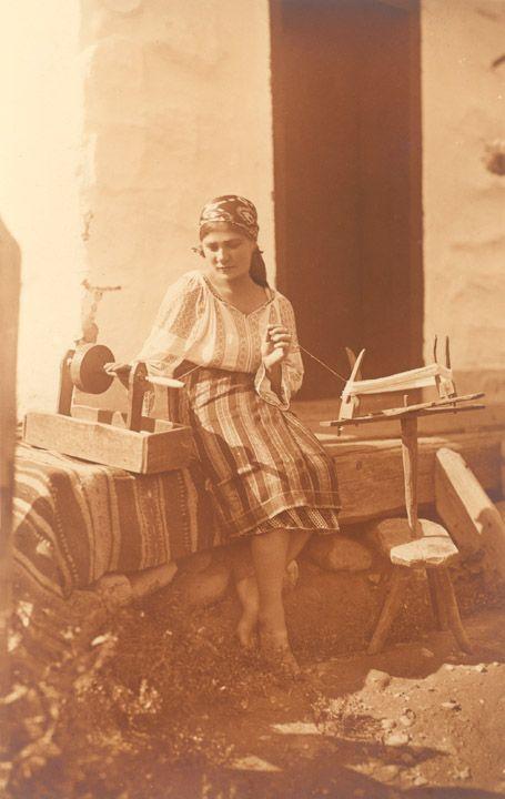 Romania Gallery / Peasant Girl Spooling Yarn Postcard