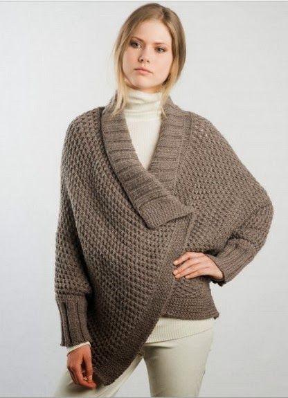MES FAVORIS TRICOT-CROCHET: Modèle gratuit : Une veste cape au tricot